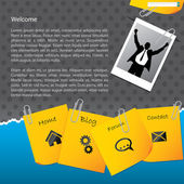 Bussines website template with paper clipped notepapers and phot