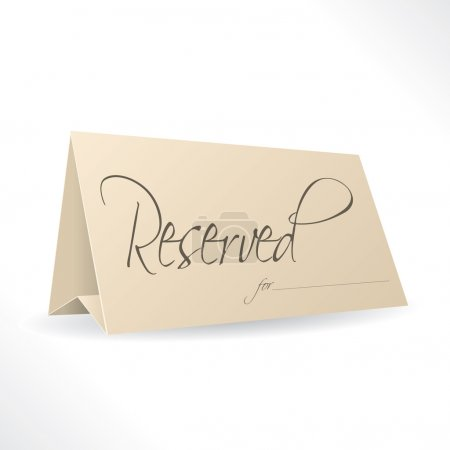 Reserved note with place for name