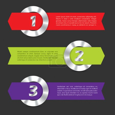 Infographic with metallic rings and ribbons