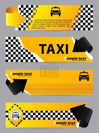 Illustration pour Bannière de compagnie de taxi cool jeu de 4 avec des flèches - image libre de droit