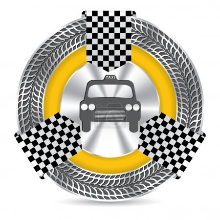 Illustration pour Modèle d'insigne de taxi métallique avec cercle de roulement et ruban à carreaux - image libre de droit