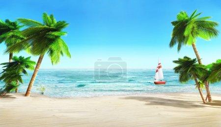Tropical beach and yacht.