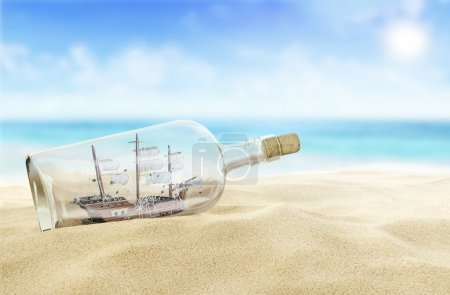 Photo for Ship in a bottle on the beach. - Royalty Free Image