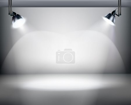 Illustration for Spotlights in a film studio. - Royalty Free Image