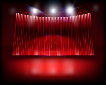 Illustration for Theater auditorium with stage curtain. Vector illustration. - Royalty Free Image