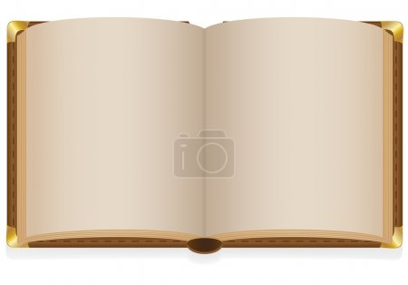 Photo for Old open book with blank sheets illustration isolated on white background - Royalty Free Image