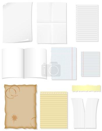 Définir des feuilles de papier vierges pour illustration de conception