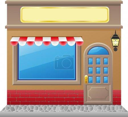 Photo pour Façade de la boutique avec une illustration de la vitrine - image libre de droit
