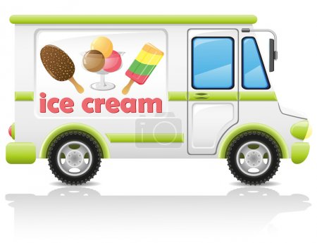 Car carrying ice cream vector illustration