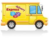 Auto expresní doručení pošty a balíků vektorové ilustrace