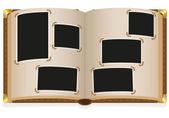 Staré otevřené fotoalbum s prázdnou fotografie vektorové ilustrace