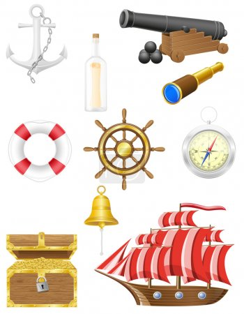 Photo for Set of sea antique icons vector illustration isolated on white background - Royalty Free Image
