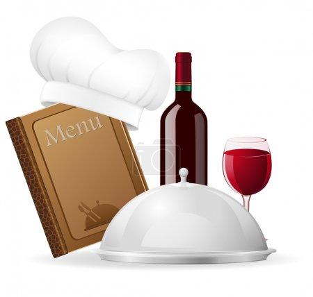 Illustration pour Set d'icônes pour l'illustration de vecteur de restaurant isolé sur fond blanc - image libre de droit
