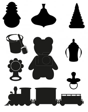 Icon of toys and accessories for babies and children black silho