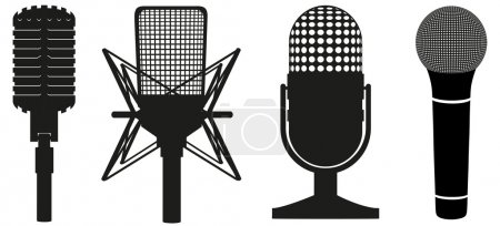 Icon set of microphones black silhouette vector illustration