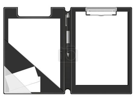 Clipboard folder blank sheet of paper and pen vector illustratio