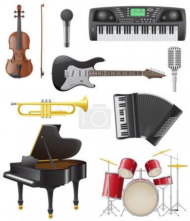 Illustration pour Set icônes d'instruments de musique illustration vectorielle isolé sur fond blanc - image libre de droit