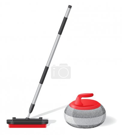 broom and stone for curling sport game vector illustration