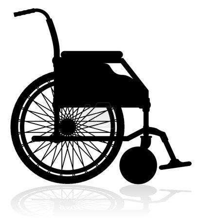 Illustration pour Illustration vectorielle silhouette noire en fauteuil roulant isolée sur fond blanc - image libre de droit