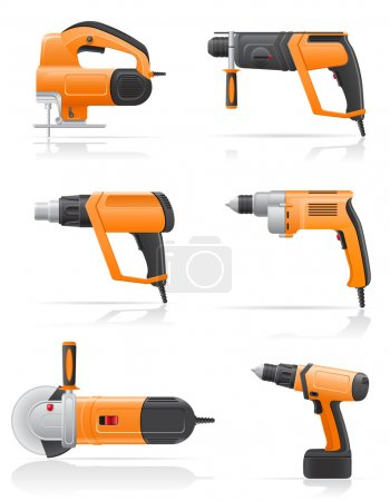 Illustration for Electric tools set icons vector illustration isolated on white background - Royalty Free Image