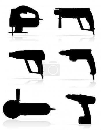 Illustration for Electric tools black silhouette set icons vector illustration isolated on white background - Royalty Free Image