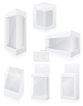 Illustration for Transparent packing box set icons vector illustration isolated on white background - Royalty Free Image