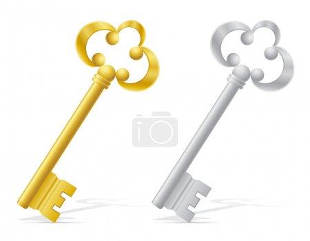 Illustration pour Anciennes clés rétro porte verrouillage vectoriel illustration isolée sur fond blanc - image libre de droit