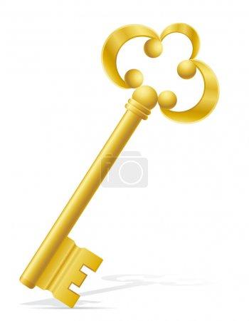 Illustration pour Vieille illustration vectorielle de verrouillage de porte clé rétro isolé sur fond blanc - image libre de droit