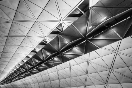 Photo for Modern architecture of ceiling in Hong Kong airport. - Royalty Free Image