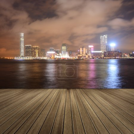 Photo for Cityscape of Victoria harbor in the night in Hong Kong, Asia. - Royalty Free Image