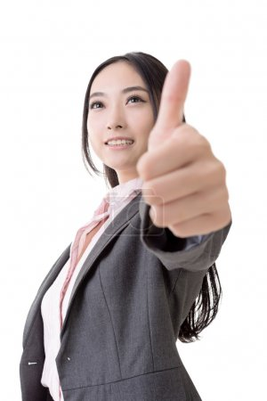 Asian business woman give you excellent gesture