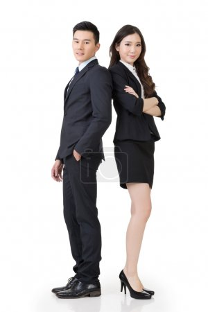 Photo for Confident Asian business man and woman, full length portrait isolated on white background. - Royalty Free Image