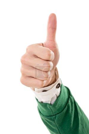 Photo pour Pouce vers le haut geste sur fond blanc . - image libre de droit