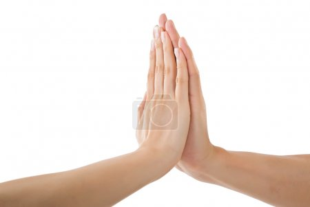 Photo pour Homme et femme tenant la main, image rapprochée . - image libre de droit
