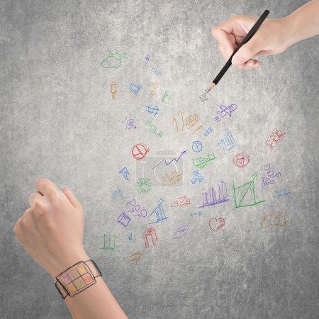 Photo pour Concept de dispositif portable de montre numérique, dessin à la main . - image libre de droit