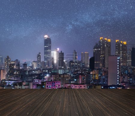 Photo for City night scene with wooden ground. - Royalty Free Image