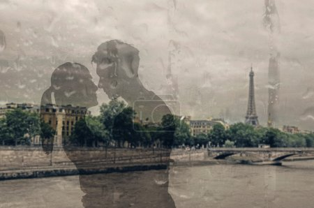 Photo for Glass reflection of Asian couple hug. - Royalty Free Image