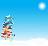 Ski trip illustration with famous ski destinations