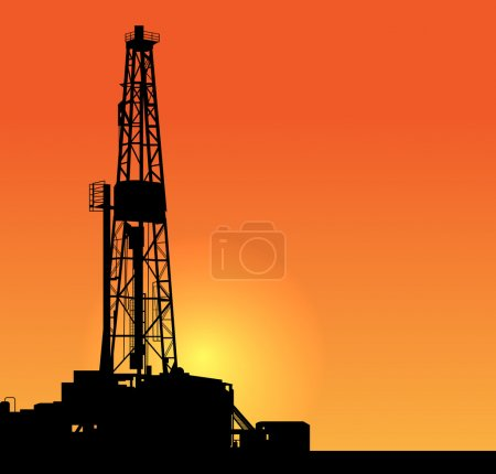 Oil drilling illustration. sunset