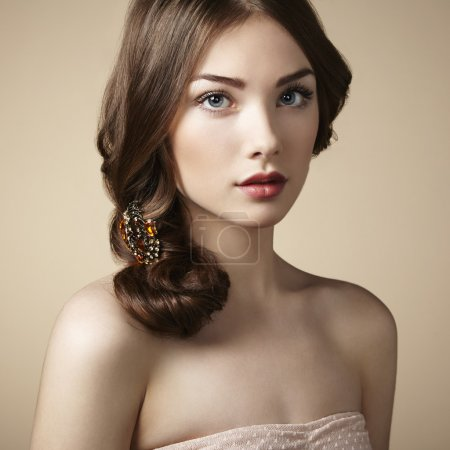 Portrait of young beautiful girl. Fashion photo