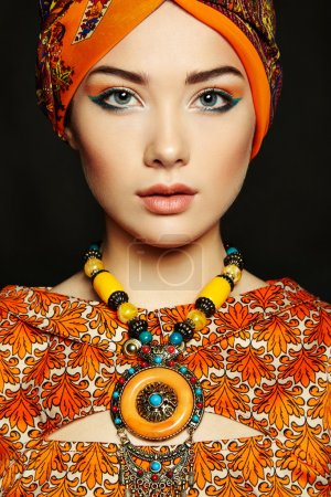 Photo for Portrait young beautiful woman with necklace. Fashion photo - Royalty Free Image