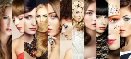 Beauty collage. Faces of women. Fashion photo...