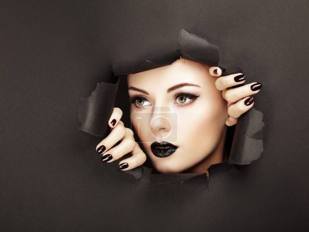 Photo for Conceptual beauty portrait of beautiful young woman. Perfect Manicure.  Cosmetic Eyeshadows. Fashion photo - Royalty Free Image