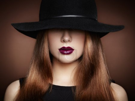 Photo for Fashion photo of young magnificent woman in hat. Girl posing. Studio photo.  Perfect Makeup - Royalty Free Image