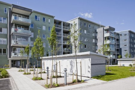 Photo for Apartment buildings on a sunny day - Royalty Free Image
