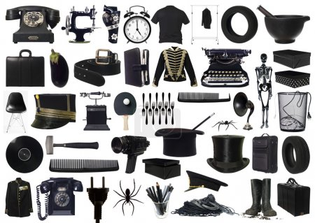 Photo for Collage of Black objects on white background - Royalty Free Image