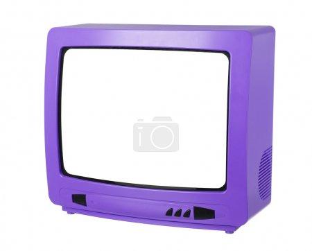 Photo pour Violet Tv isolé sur fond blanc - image libre de droit