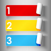 Set 1 of cute and colorful peeling off label or sticker in primary colors with shadows big 123 numbers in white over light grey gradient background ready for yo