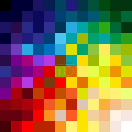 Illustration for Fun and very colorful series of squares or pixels in all the colors of the spectrum, from light to dark. - Royalty Free Image