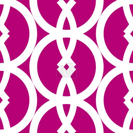 Illustration for Bold and graphic seamless pattern made by white cicle and arch geometrical shapes over dark pink,great for fabric, backgrounds and the likes. - Royalty Free Image